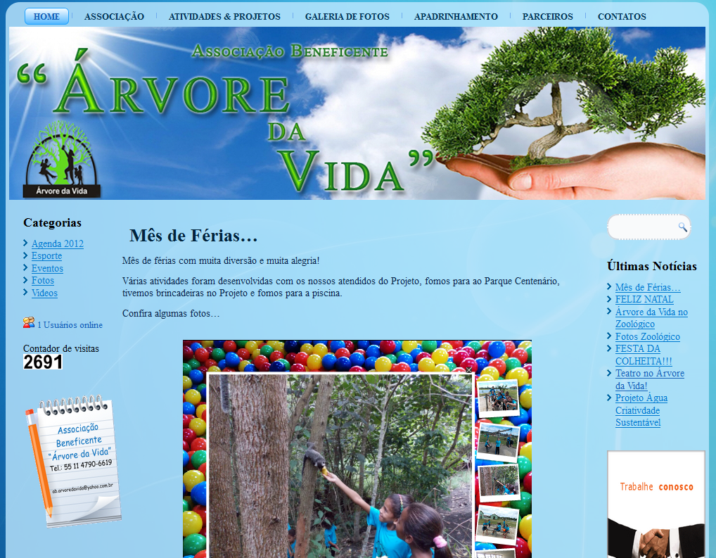 WebSite Árvore da Vida